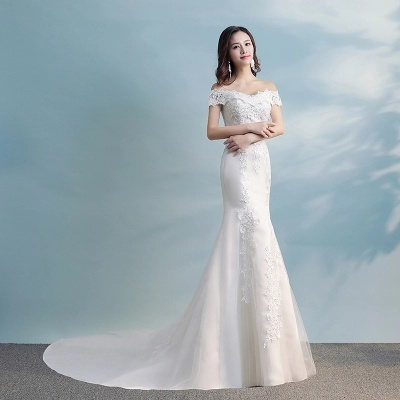 A new bride wedding wedding dress shoulder 2017 slim slim waist ...