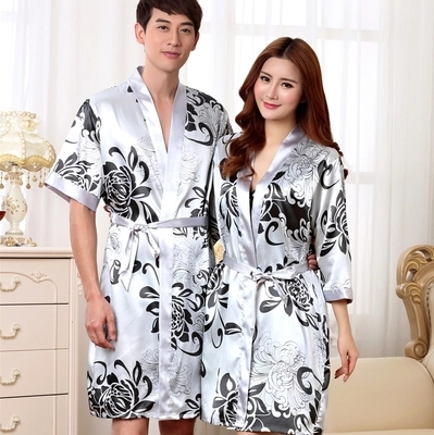 7a6be6d25b Wishlist (0 favorites). A couple of male silk robe summer sexy silk  bathrobe thin and short ...