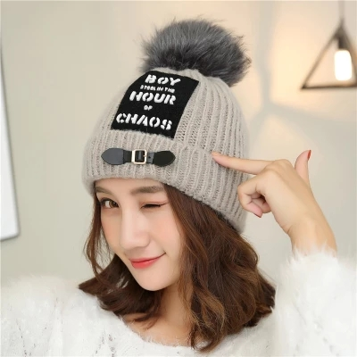 32786d6b03d Hat female knitted hat all-match winter warm autumn and winter thickened ear  rabbit ball wool hat Korean Korean tide