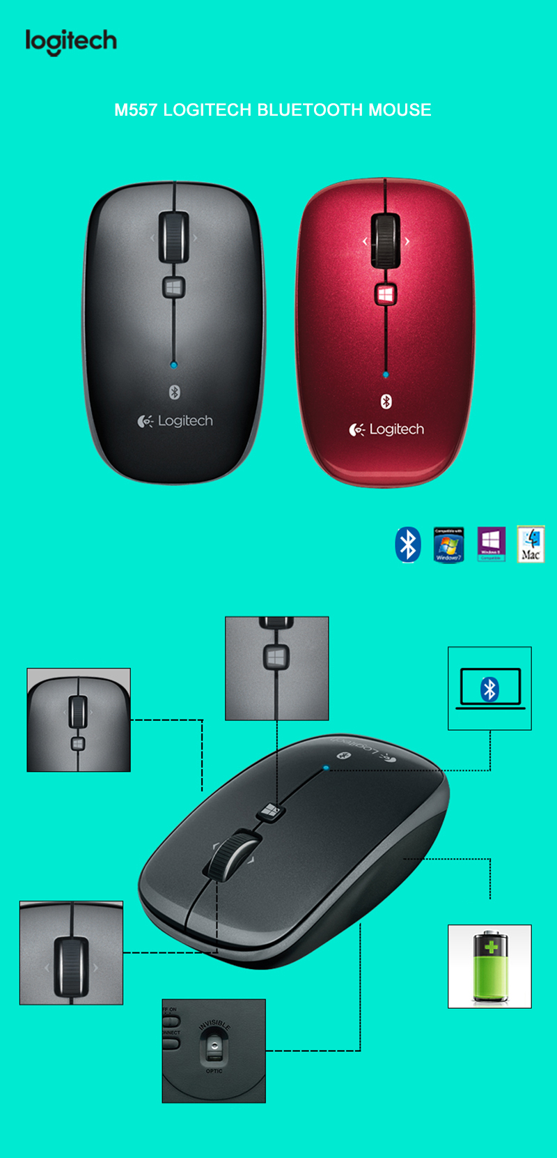Logitech M557 Bluetooth Wireless Mouse with Ergonomic Mice